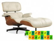 Кресло для отдыха Релакс с оттоманкой, натуральная кожа, гнутая фанера, цвет бежево-серый