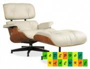 Кресло Релакс с оттоманкой, натуральная кожа, гнутая фанера, цвет бежевый