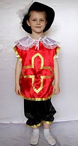 Новогодний костюм Мушкетер красный атлас для мальчика 3-7 лет