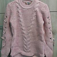 Кофта, светр, для дівчинки пудра весна-осінь, зима в'язана
