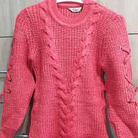 Кофта, светр, для дівчинки лосось, терракот весна-осінь, зима в'язана