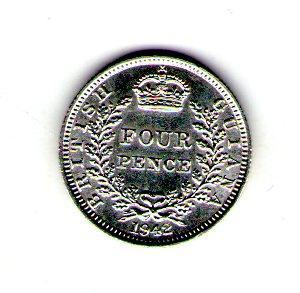 Британская Гайяна 4 пенса 1942 год Георг VI серебро