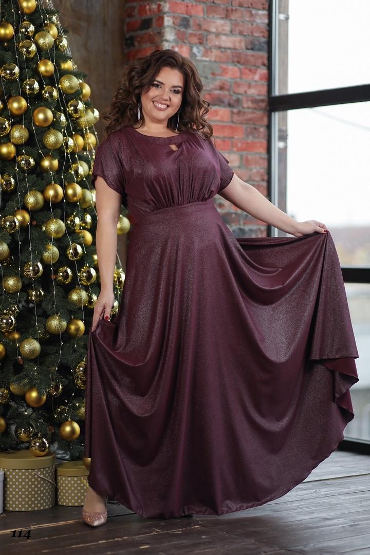 Платье вечернее, диагональ с блестящим напылением 50, 52, 54, 56