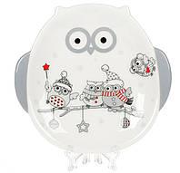 """Тарелка новогодняя керамическая """"Совы на ветке"""" 18 см, цвет - белый с серым"""