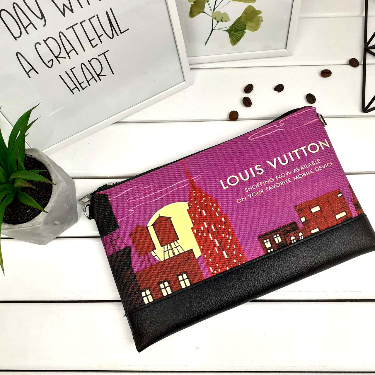 Клатч Moderika Lady черный с рисунком Louis Vuitton (44119)