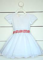 Красивое вышитовое платье на короткий рукав для девочки на 1-2 года, фото 1