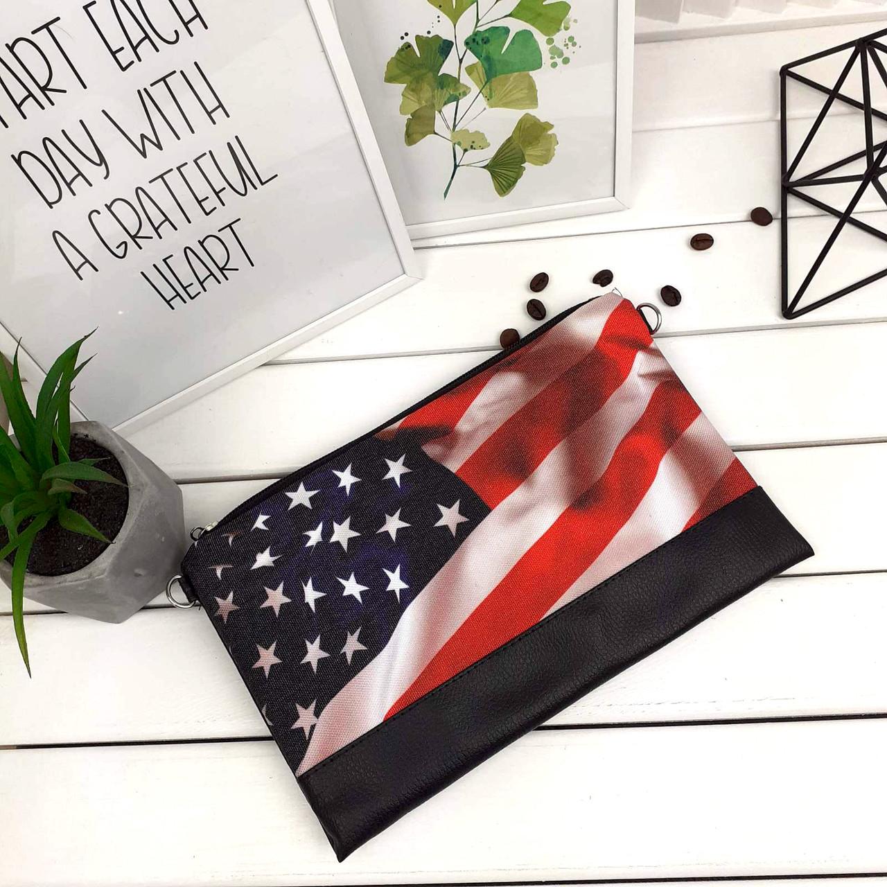 Клатч Moderika Lady черный с рисунком Американский флаг (44138)