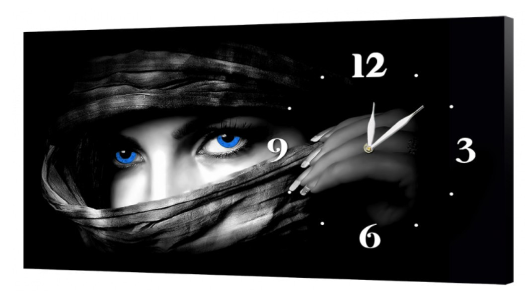 Настенные часы DK Store на холсте Таинственный взгляд 30x53 см (ch28 _S)