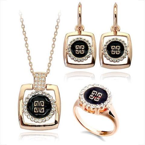 Комплект Givenchy ювелирная бижутерия золото 18к 750 проба Swarovski elements