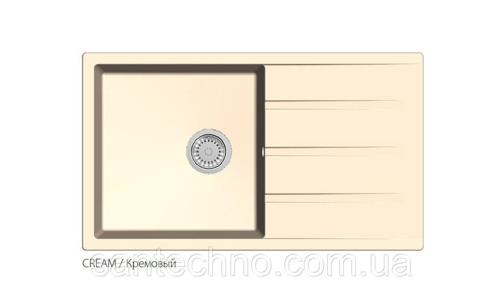 Кварцевая прямоугольная мойка для кухни песочная Fabiano Classic XL 86x50 Cream