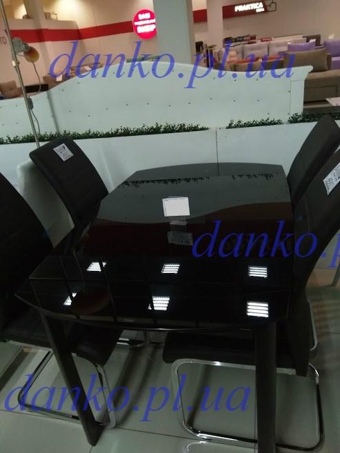 Обеденный стол Т- 600 черный глянец 120/180 от Vetro Mebel, стекло