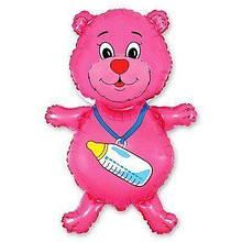 Фольгована кулька велика фігура Ведмідь рожевий 92х59 см Flexmetal