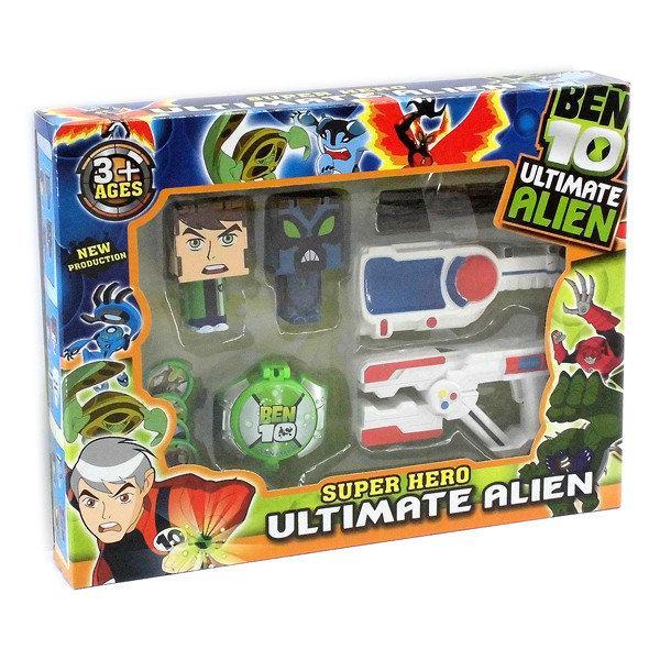 Коллекционные фигурки супергероев Бен 10 пиксельный формат - Ben 10, Ultimate Alien, Super Hero, Bandai