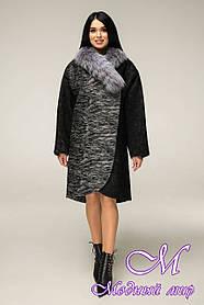 Женское зимнее теплое пальто большого размера (р. 44-58) арт. 12-12/4 ч/б