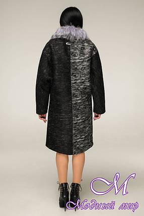 Жіноча зимове тепле пальто великого розміру (р. 44-58) арт. 12-12/4 ч/б, фото 2