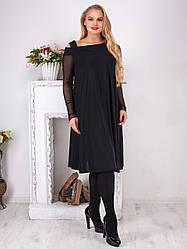 Нарядное платье батал черное свободное