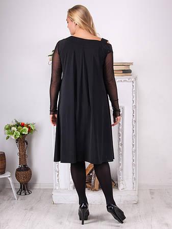 Нарядное платье батал черное свободное, фото 2