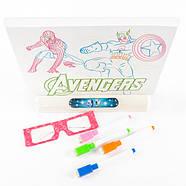 4D свет, доска для рисования с 3D очками Avengers, фото 2