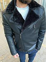 Зимняя мужская чёрная куртка косуха на меху кожанка мужская косуха кожзам