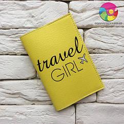 Обложка для паспорта Travel girl 5 (желтый)