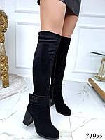 Зимние ботфорты на каблуке ремешок украшение, фото 1