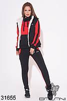 Спортивный чёрно-красный женский брючный костюм тройка на овчине