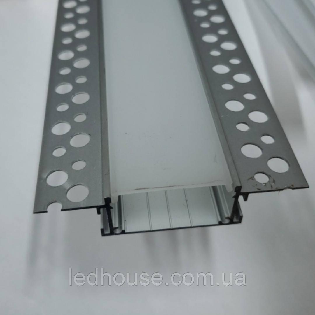 Профиль для светодиодной ленты под штукатурку в Гипсокартон 75х18,5мм