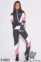 Спортивный женский брючный костюм цвета графит