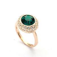 Кольцо Бруно GREEN ювелирная бижутерия золото 18К декор кристаллы Swarovski
