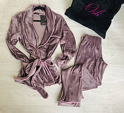 Теплый  домашний костюм халат и штаны, фото 2