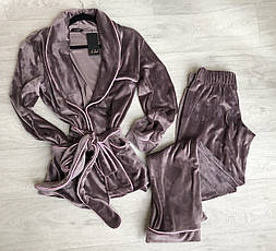 Теплый  домашний костюм халат и штаны, фото 3