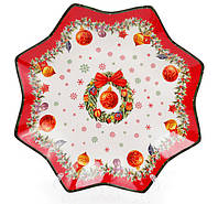 """Тарелка новогодняя керамическая """"Рождественский Венок"""" 30.5см, цвет - красный с белым"""