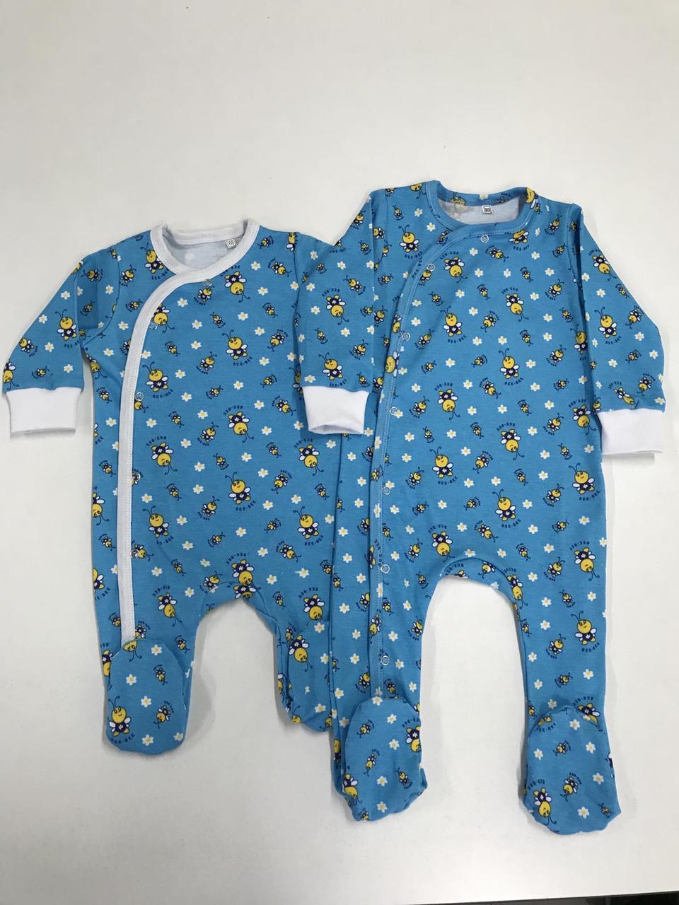 """Человечек для новорожденного хлопковый на кнопках """"Пчелка"""""""
