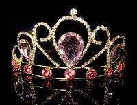 Диадема принцессы розовые кристаллы на металлическом обруче, высота 5,5 см, золотистая