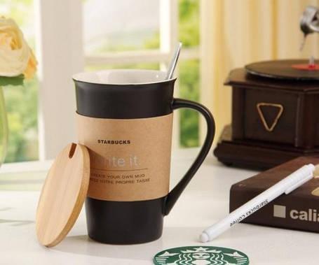 Керамическая чашка с крышкой Starbucks memo, фото 2
