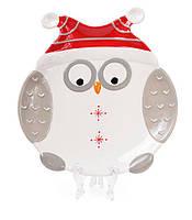 """Тарелка новогодняя керамическая """"Сова в красной шапке"""" 27 см, цвет - красный с белым, набор 2 шт"""