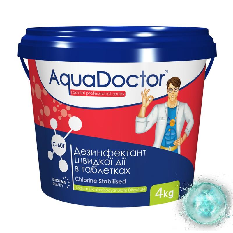 Хлор AquaDoctor C-60T  в таблетках шоковый 4 кг для бассейна. Хлорные таблетки шок хлор