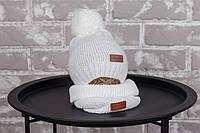 """Вязаная шапка со снудом """"Lucky"""", белого цвета, фото 1"""