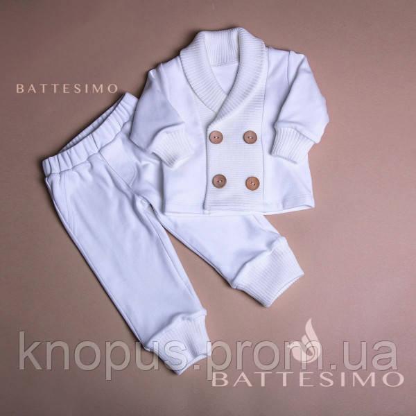 Нарядный  костюм для новорожденного - трикотажные штаны и кофта, белый/молочный, БАТТЕСИМО, 0-24 мес