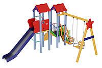 Детский комплекс Авалон с металической горкой H 1,5 м Kidigo (11764), детские игровые площадки.