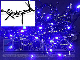 Гирлянда с черным проводом и цилиндрической маленькой лампой 100LED (синий) 60шт LED100B-10-2