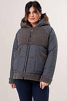 Женская дутая куртка из комбинированных материалов. Модель 23522. Размеры 48-62