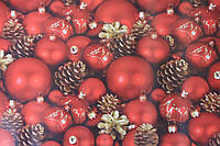 Упаковочная бумага красная с рисунком новогодние игрушки шишки