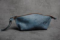 Женская кожаная косметичка ручной работы, цвет джинс