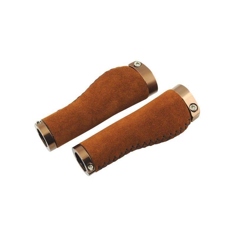 Ручки керма Longus LEDER замок,коричневий, шкіряні