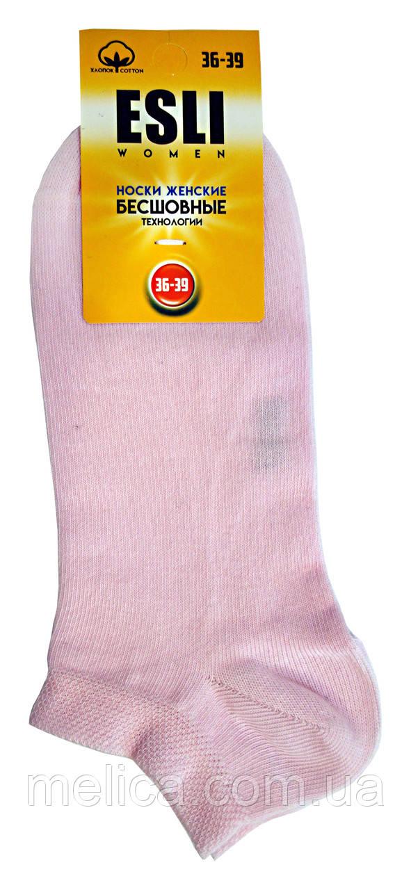 Жіночі бавовняні безшовні короткі шкарпетки Esli C-WS-01, г. 23-25 світло-рожевий, рис.000
