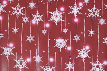 Новогодняя упаковочная бумага красная с рисунком снежинки размер 1 метр на 70 см 1 шт