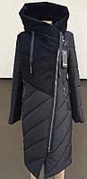 Черное комбинированное зимнее пальто с молнией на косую