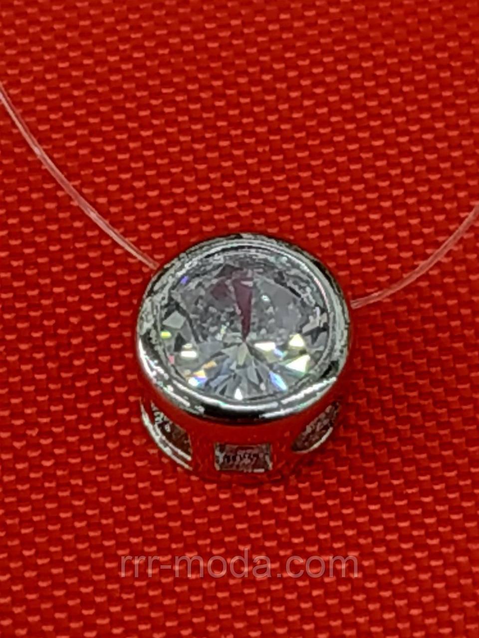 396 Кулоны кристаллы в серебре (4 размера), женская кулон - подвеска на силиконе.