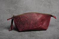 Женская кожаная косметичка ручной работы, цвет марсала